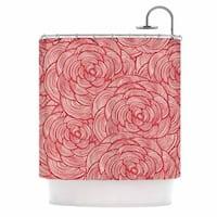 KESS InHouse KESS Original Roses Pink Red Shower Curtain (69x70)
