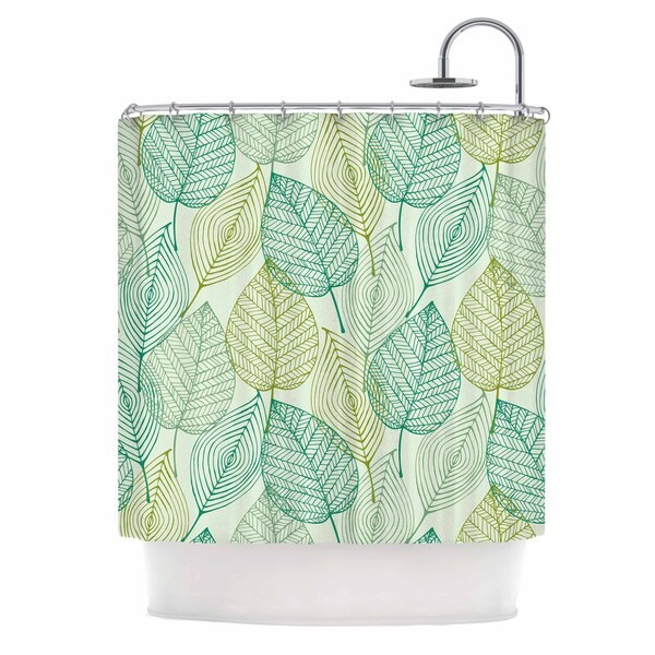 KESS InHouse KESS Original Make Like A Tree Green Pattern Shower Curtain (69x70)