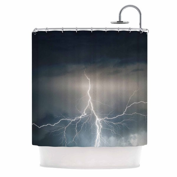 KESS InHouse KESS Original Lightning Storm Blue White Shower Curtain (69x70)