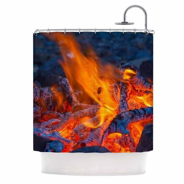 KESS InHouse KESS Original Red Hot Blue Orange Shower Curtain (69x70)