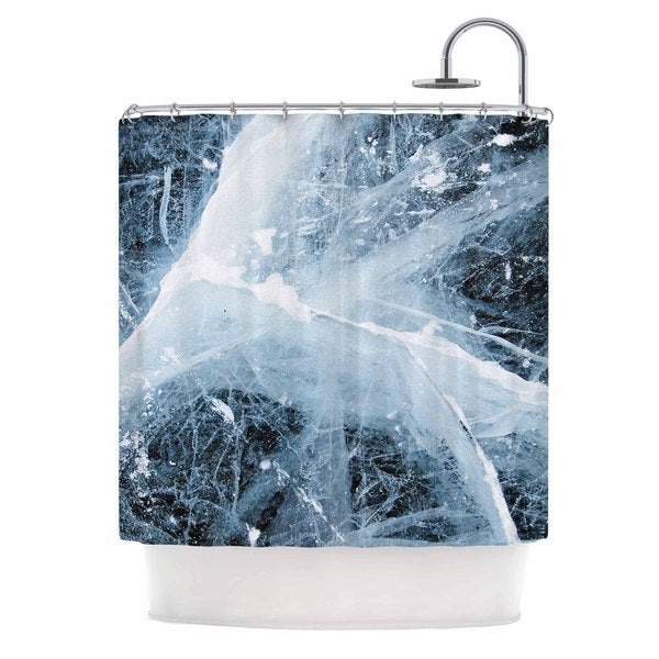 KESS InHouse KESS Original Deep Winter Blue White Shower Curtain (69x70)