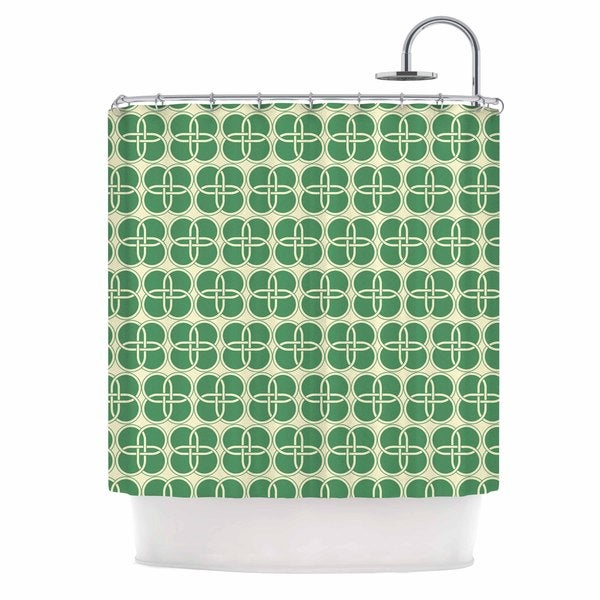 KESS InHouse KESS Original Celtic Crosses Green Pattern Shower Curtain (69x70)