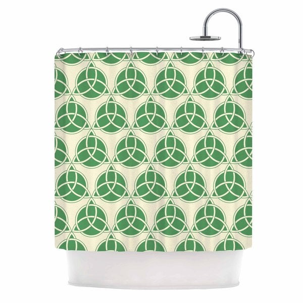 KESS InHouse KESS Original Celtic - Pattern Green Beige Shower Curtain (69x70)