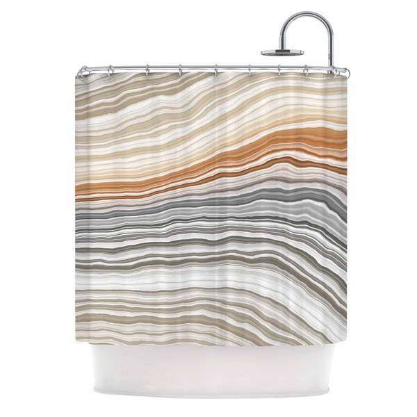 KESS InHouse KESS Original Vernal Pools Beige Gray Shower Curtain (69x70)