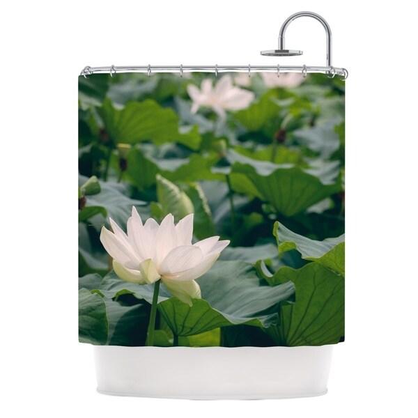 KESS InHouse Catherine McDonald White Lotus Green White Shower Curtain (69x70)