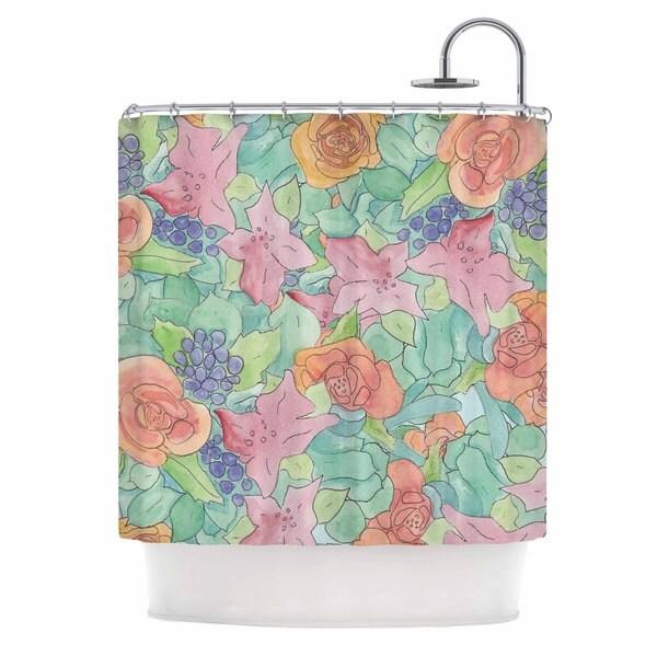 KESS InHouse Catherine Holcombe Southwestern Floral Green Purple Shower Curtain (69x70)