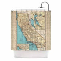 KESS InHouse Catherine Holcombe So Cal Surf Map Beige Blue Shower Curtain (69x70)