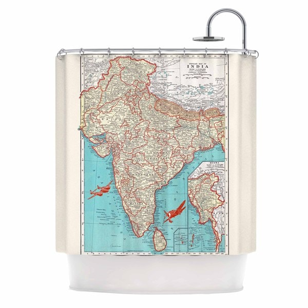KESS InHouse Catherine Holcombe Travel To India Teal Red Shower Curtain (69x70)