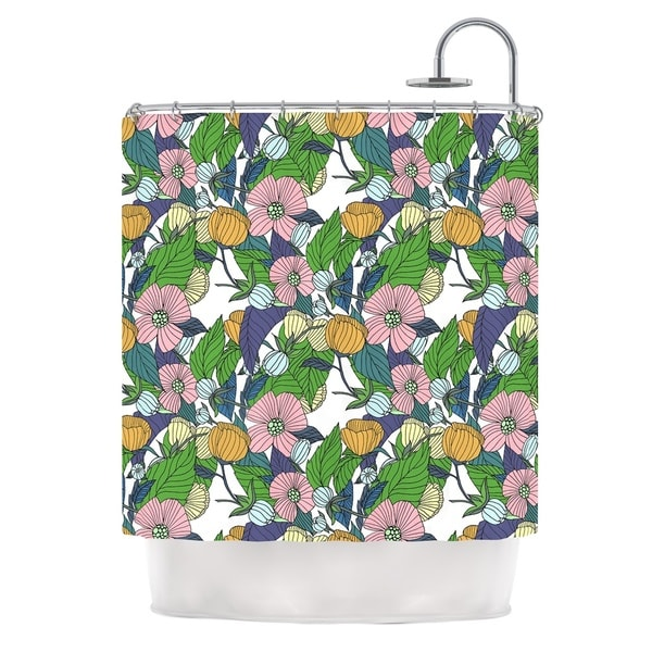 KESS InHouse Catherine Holcombe Spring Foliage Floral Pastels Shower Curtain (69x70)