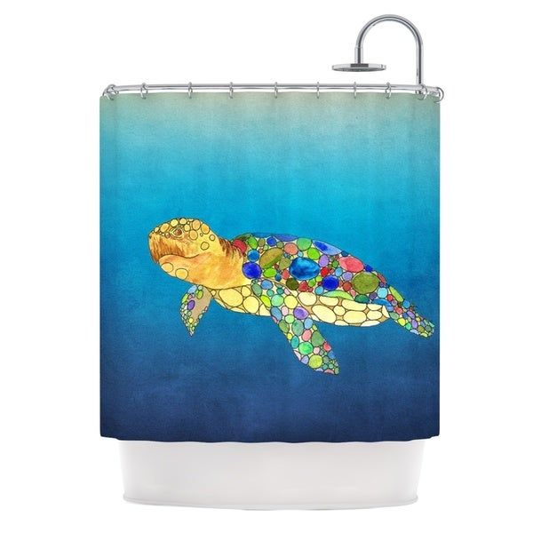 KESS InHouse Catherine Holcombe Bubbles Blue Turtle Shower Curtain (69x70)