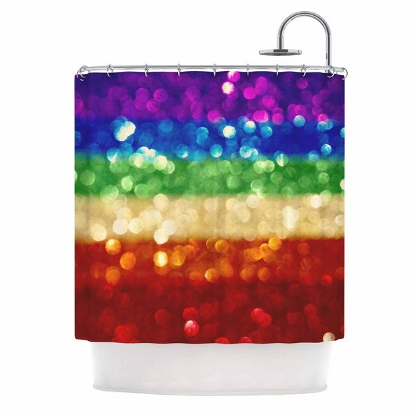 KESS InHouse Kristi Jackson Rainbow Bokeh Multicolor Digital Shower Curtain (69x70)