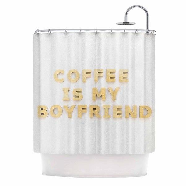 KESS InHouse Kristi Jackson Coffee Is My Boyfriend Typography Beige Shower Curtain (69x70)