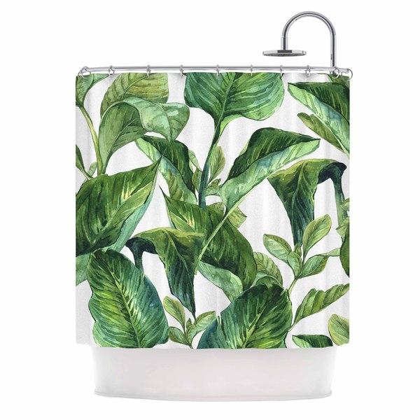 KESS InHouse Kess Original Banana Leaves Green White Shower Curtain (69x70)