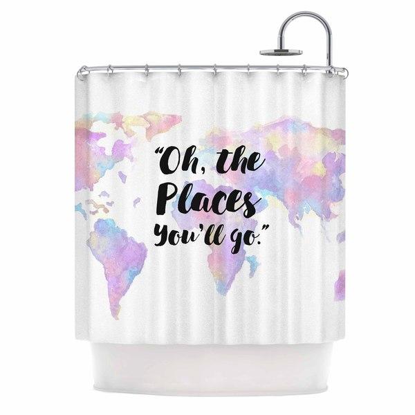 KESS InHouse Kess Original The Places You'll Go Purple Yellow Shower Curtain (69x70)