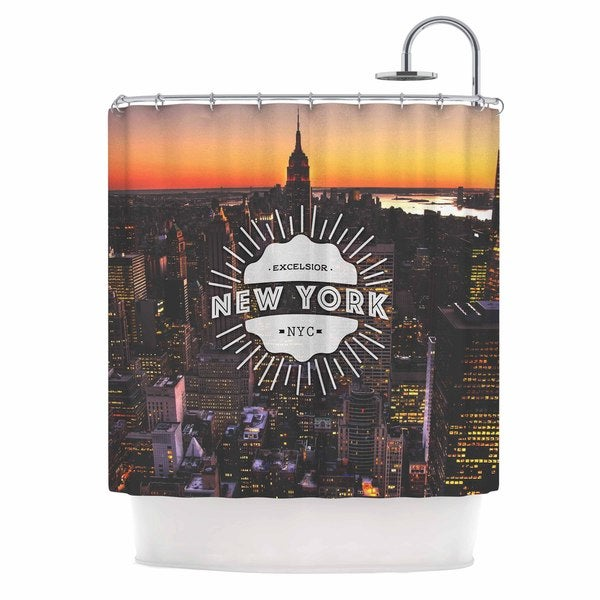 KESS InHouse Kess Original New York Orange Black Shower Curtain 69x70