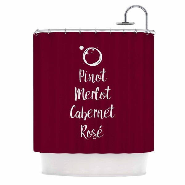 KESS InHouse Kess Original Pinot, Merlot, Cabernet, Ros̩ White Red Shower Curtain (69x70)