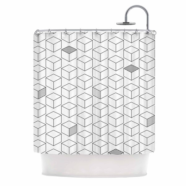 KESS InHouse Kess Original Shade Cubed Gray White Shower Curtain (69x70)