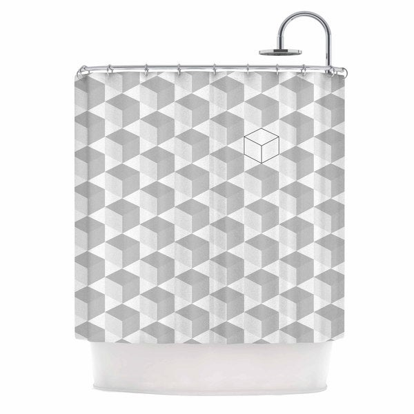 KESS InHouse Kess Original Greyscale Cubed White Geometric Shower Curtain (69x70)
