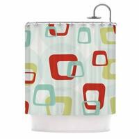 KESS InHouse Kess Original Retro Squares Red Teal Shower Curtain (69x70)