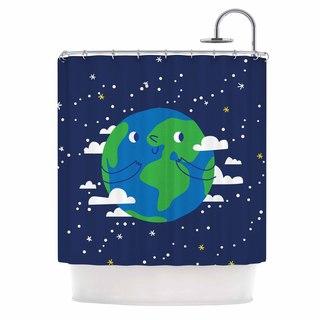 KESS InHouse Kess Original Happy Earth Blue Green Shower Curtain (69x70)
