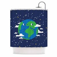 KESS InHouse Kess Original Happy Earth Blue Green Shower Curtain (69x70)