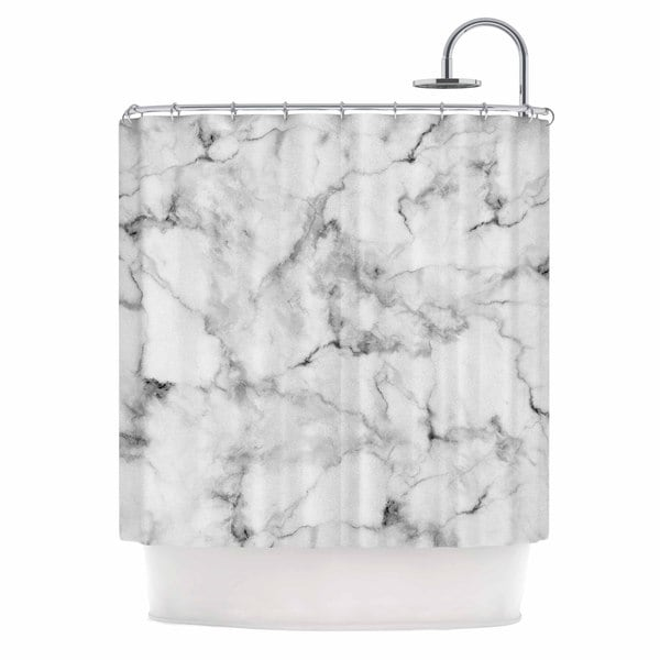 KESS InHouse Kess Original White Marble Gray White Shower Curtain (69x70)