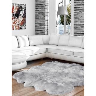 ecarpetgallery Semvu Sheepskin Grey Wool Rug (4'6 x 5'6)