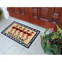 A1HC First Impression Flamingo Welcome 24 in. X 36 in. Rubber Coir Door Mat