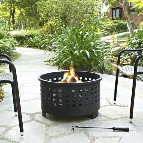 Hudson Basket Weave Firepit in Black
