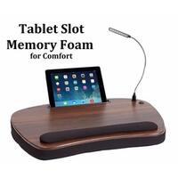 Sofia + Sam Black Wood Top Memory Foam Oversized USB Light and Tablet Slot Lap Desk