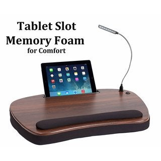 Sofia + Sam Black Wood Top Memory Foam Oversized USB Light and Tablet Slot Lap Desk