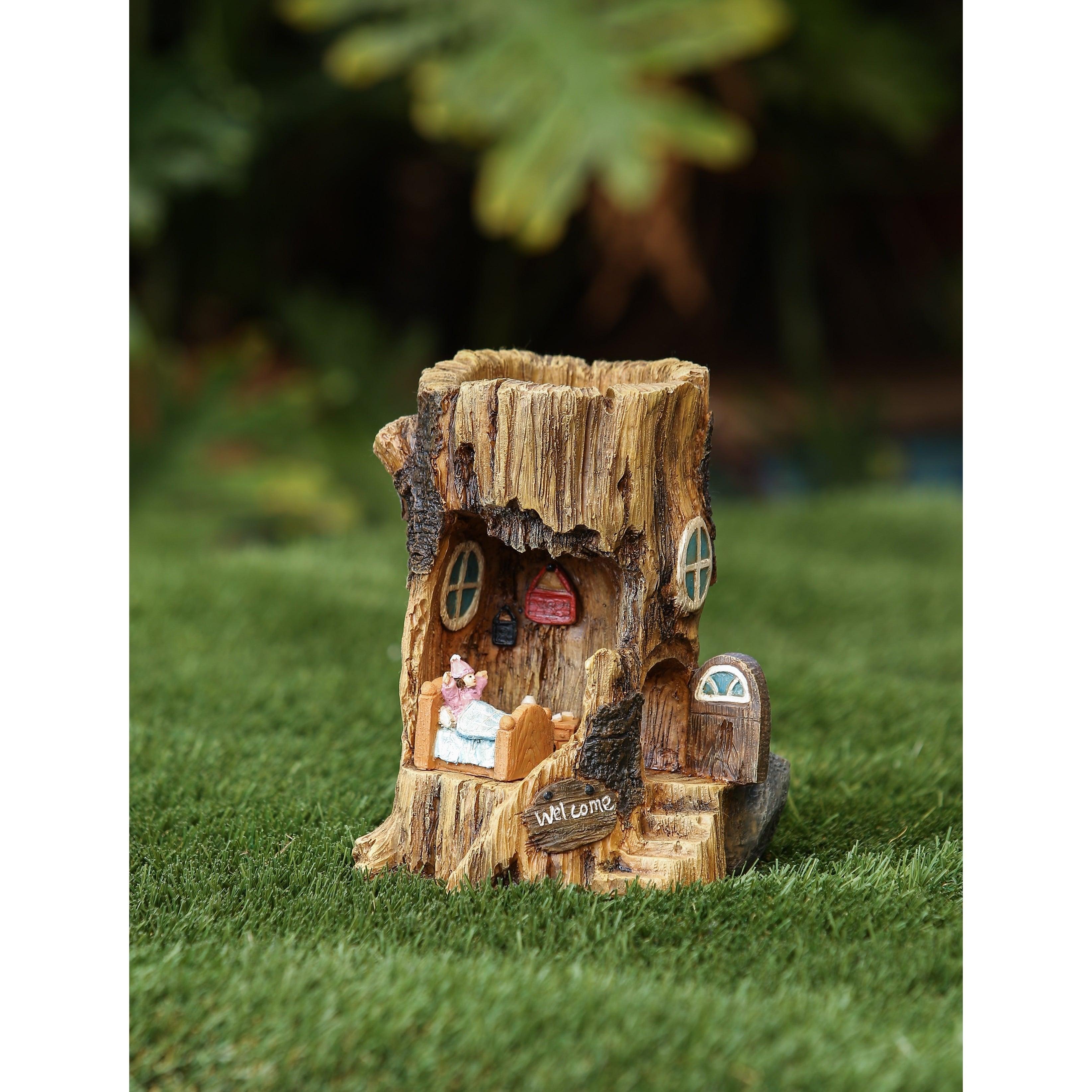 Winsome House Solar Log House Miniature Fairy Garden Set ...