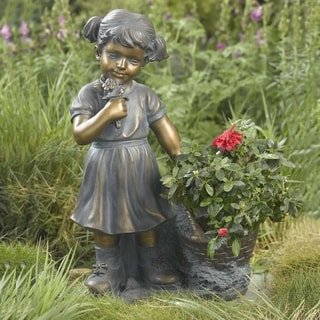 Girl Picking Flowers and Plant Holder Garden Statue