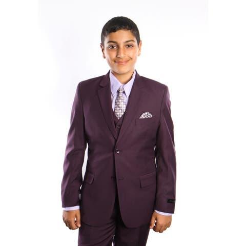 Tazio Boy's 5-piece Plum Suit