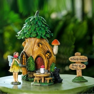 Winsome House 5pc Treehouse Miniature Fairy Garden Set