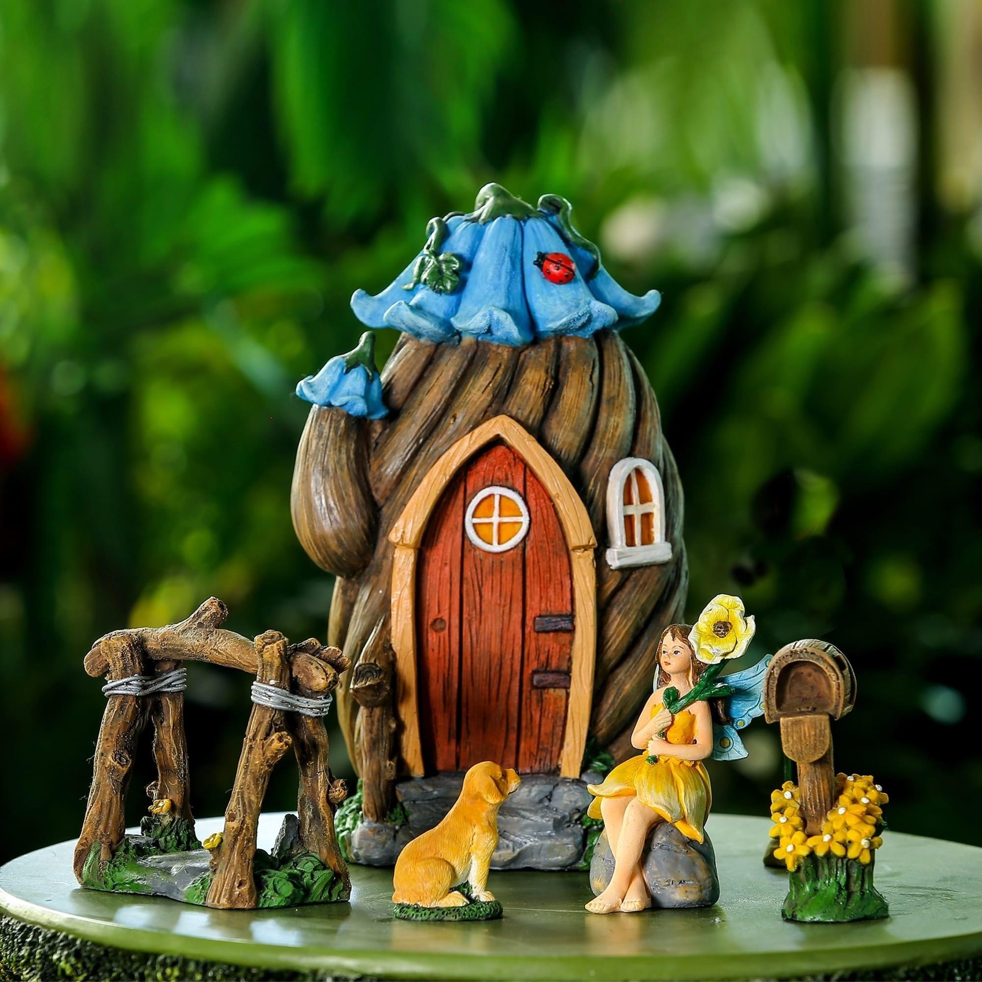 Winsome House 5pc Flower House Miniature Fairy Garden Set...