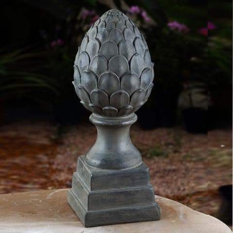 20.1in. Dark Stone Finish Artichoke Finial