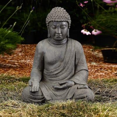 Grey MgO Meditating Buddha Outdoor Statue