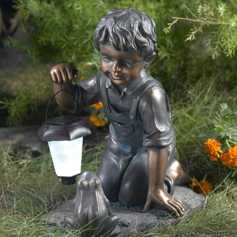 Boy with Solar Light and Frog Garden Statue
