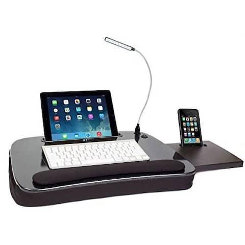Sofia + Sam Multitasking Memory Foam Lap Desk with Black Top and USB Light