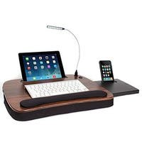 Sofia + Sam Black and Brown Wood Top Memory Foam Multitasking USB Light Lap Desk