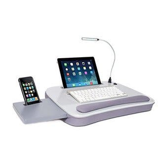 Sofia + Sam Silver MDF Memory Foam Multi-tasking Lap Desk With USB Light