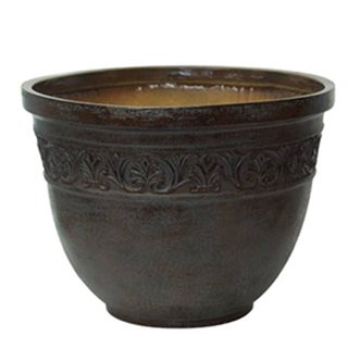Set of 2 Scroll Embossed Chocolate Finish Planters