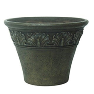 Set of 2 Scroll Embossed Natural Finish Planters