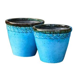 Set of 2 Scroll Embossed Blue Finish Round Planters (Medium)