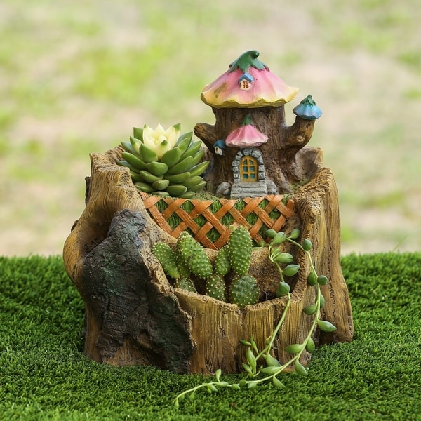 Solar garden decor large fairy house pixie welcome outdoor