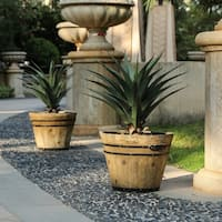 Set of 2 Rustic Finish Barrel Planters