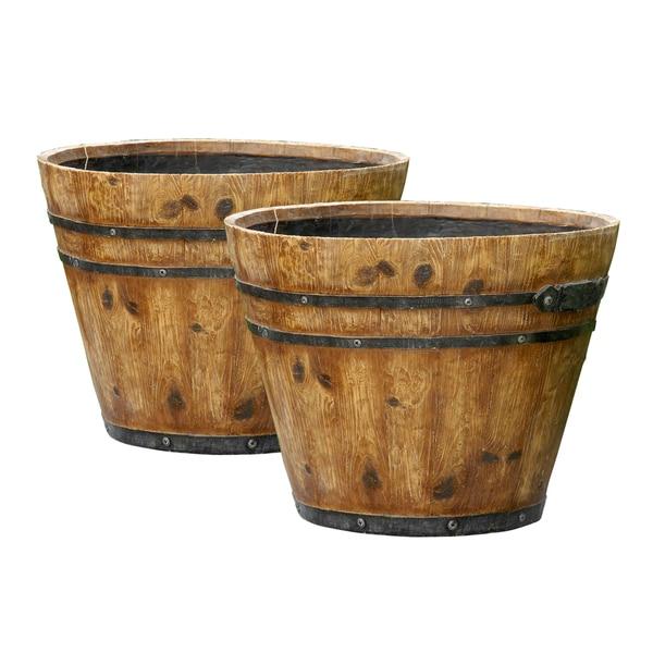 Shop Set Of 2 Rustic Finish Barrel Planters On Sale Free