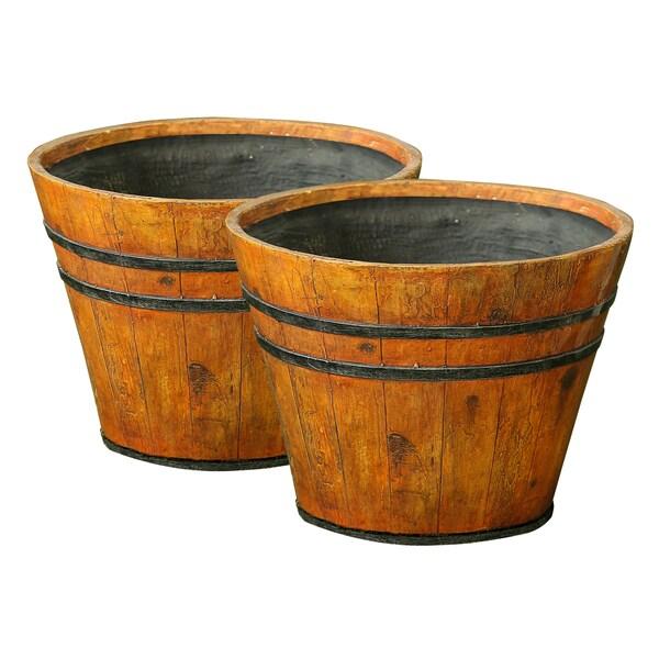 Set of 2 Wood Finish Barrel Planters