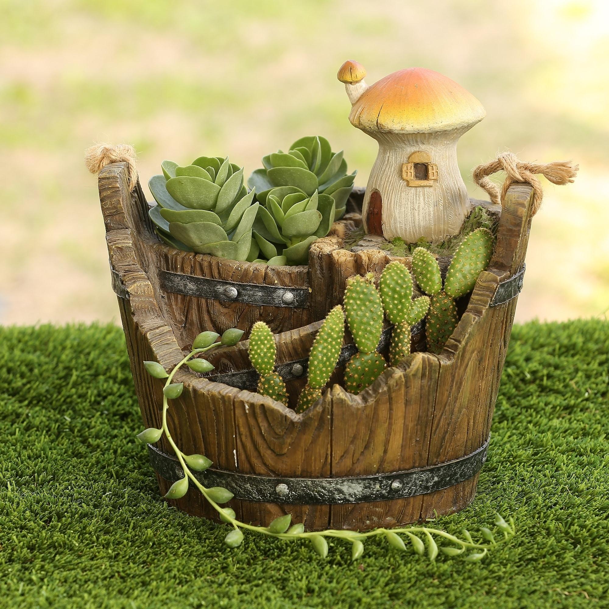 Mushroom House Bucket Planter Miniature Fairy Garden (Sma...